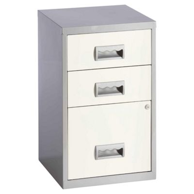 Pierre Henry A4 3 Drawer Combi Filing Cabinet, Silver With White Drawers