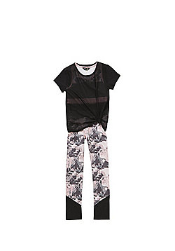 F&F Active 3 Piece Set - Black & Pink