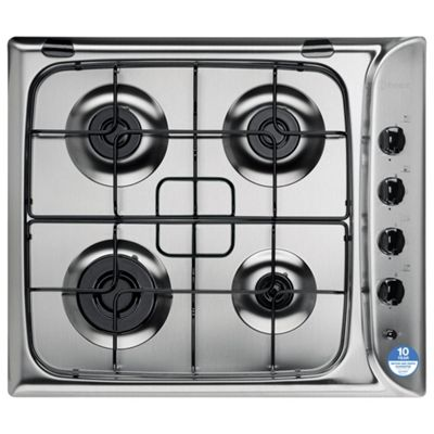 Indesit PIM640ASIX, Stainless Steel, Gas Hob, 60cm