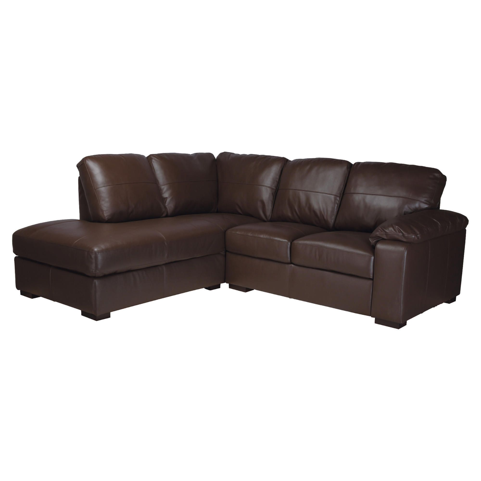 Ashmore leather corner chaise sofa bed brown left hand for Brown chaise sofa bed