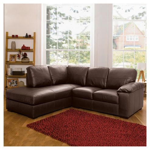 Ashmore Leather Corner Sofa, Brown Left Hand Facing