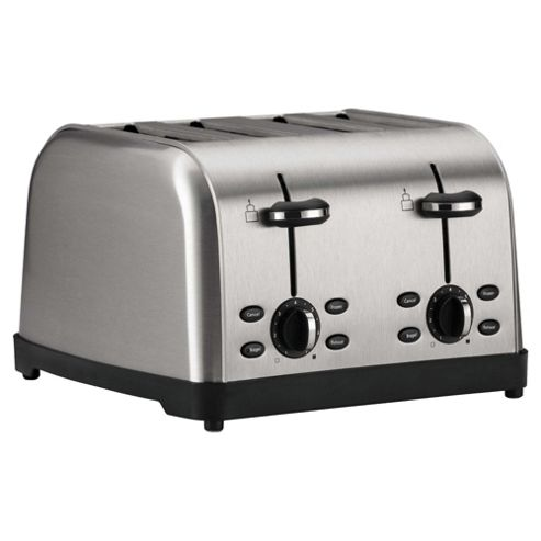 Tesco 4 Slice Toaster - Brushed Stainless Steel