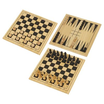 Spears Games 3-in-1 Chess, Draughts & Backgammon