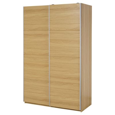 Smith Sliding Double Wardrobe, Oak Effect