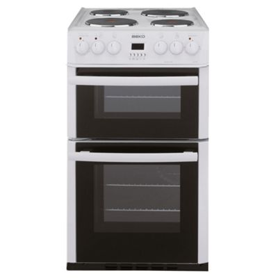 Beko DV555AW 50cm Electric Cooker With Double Oven