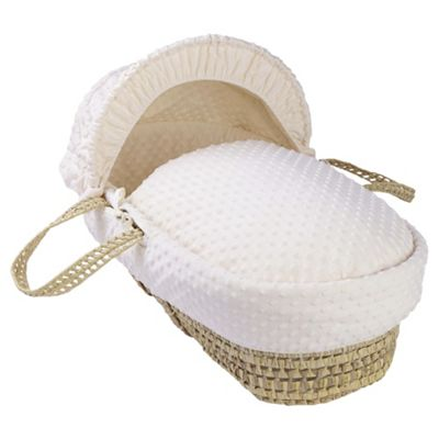 Clair de Lune Dimple Palm Moses Basket, Cream