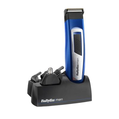 BaByliss 7057U Mens 6 in 1 Titanium Face and Body Grooming Trimmer - Blue / Silver