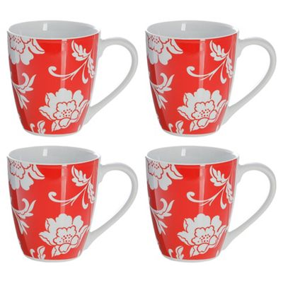 Tesco Floral Set of 4 Mugs, Red
