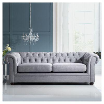 Chesterfield Linen Medium Sofa, Silver
