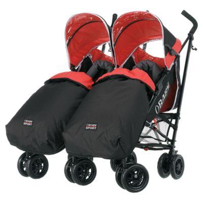 Obaby Apollo Plus Twin Pushchair & 2 Footmuffs, Sport Red