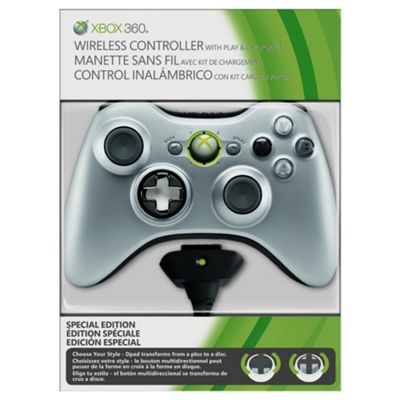 Microsoft Xbox 360 Wireless Controller with Play and Charge - Silver