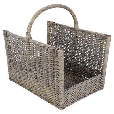 Tesco Woven Wicker Rectangular Log Basket, Grey
