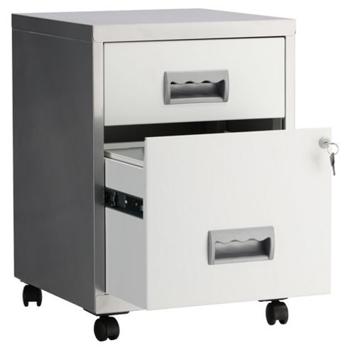 Pierre Henry A4 2 Drawer Combi Filing Cabinet With Castors, Silver With White Drawers