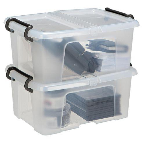 Strata Plastic Storage Box with Lid - 12L - 2 Pack
