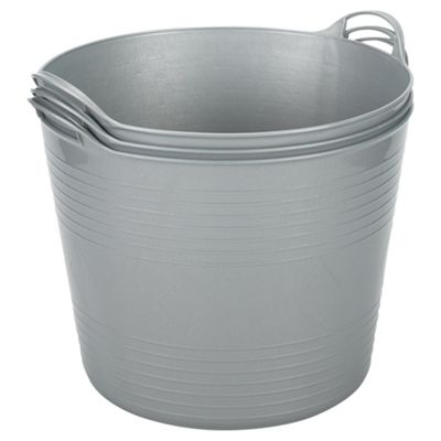 42L Plastic Flexi Tub - Set of 3 - Silver