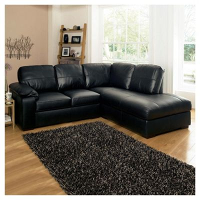 Ashmore Leather Corner Sofa Black Right Hand Facing