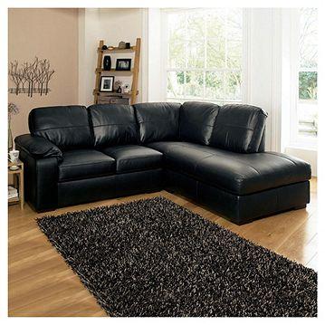 Ashmore Leather Corner Sofa, Black Right Hand Facing