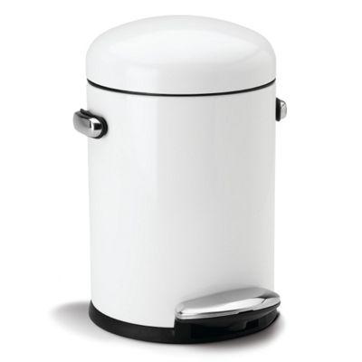Simplehuman 3 Litres Round Retro Pedal Bin - White