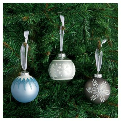 Festive Blue & Silver Mixed Glass Baubles, 12 Pack