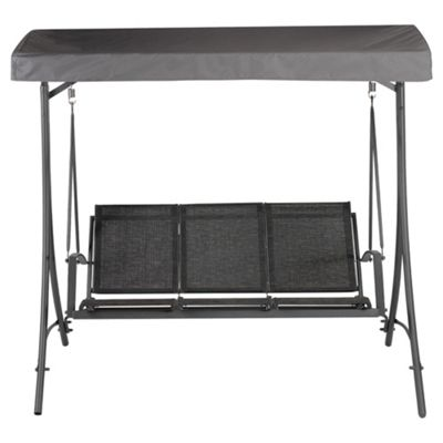 Sorrento Metal/Waterproof Woven Textile 3 Seat Swing - Charcoal