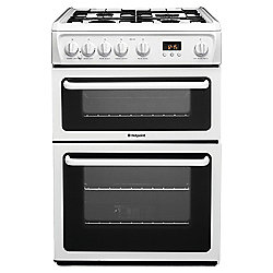 Hotpoint Newstyle Gas Cooker with Gas Grill and Gas Hob, HAG60P - White