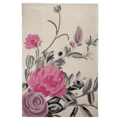 Tesco Rugs Watercolour Floral Rug Cream 150X240Cm
