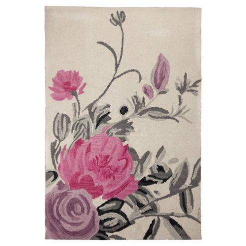 Tesco Rugs Watercolour Floral Rug Cream 150X240Cm