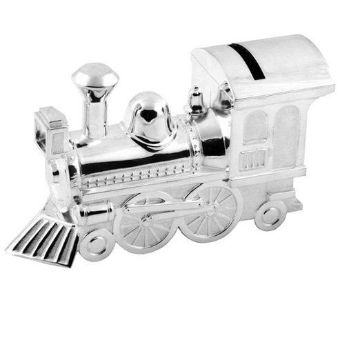 Silver Plated Money Box - Large Train
