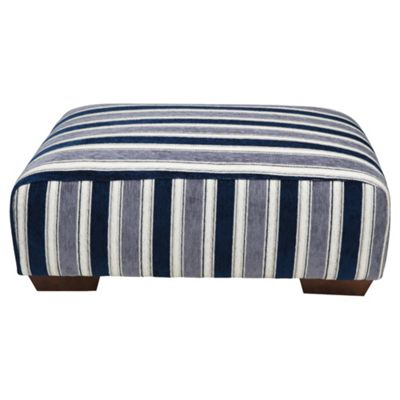 Amelie Fabric Footstool Navy Stripe