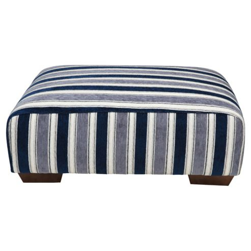 Amelie Fabric Footstool Navy Stripe