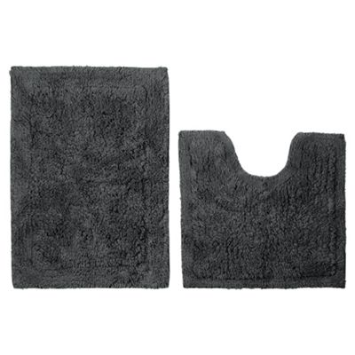 Tesco Pedestal And Bath Mat Set Grey