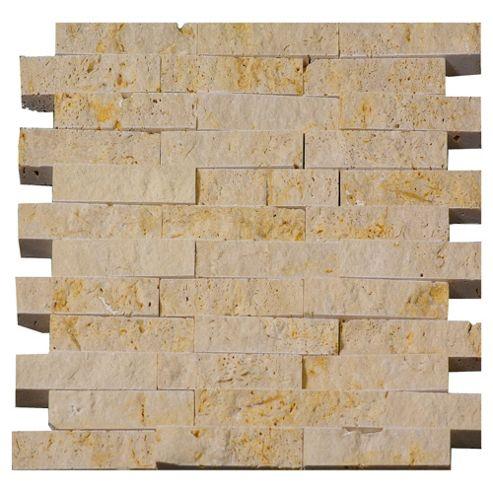 Travertine Split Faced Mosaic (30.5x32cm) Beige