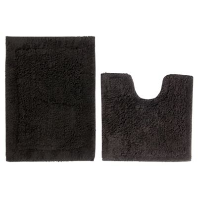 Tesco Pedestal And Bath Mat Set Black