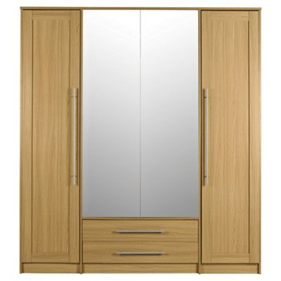 Kendal 4 Door Wardrobe with 2 Drawers, Oak Effect