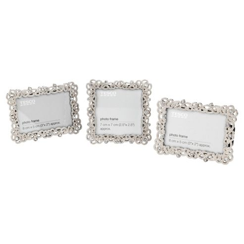 Tesco jewelled, rope-effect frame,set of 3