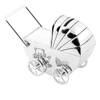 Silver-plated Pram Money Box, White