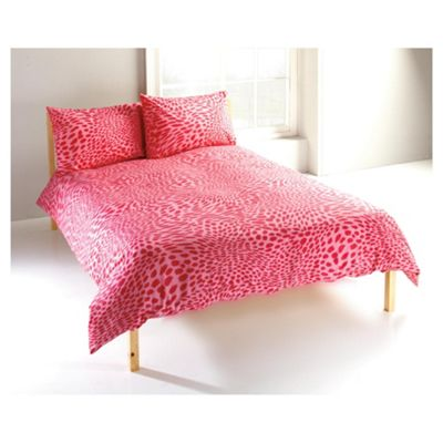 Tesco Single Leopard Duvet Cover Set, Pink