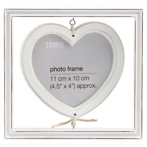 Tesco Hanging heart distressed white wash wood frame
