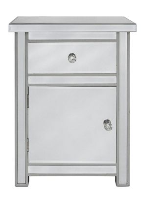 Classic Mirror One Drawer And One Door Cabinet With Crystal Handles