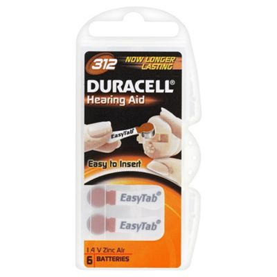Duracell 6 Pack Hearing Aid 312 1.4 V Zinc Air Batteries