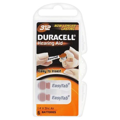 Duracell 6 Pack Hearing Aid 312 1.4 V Zinc Air Batteries