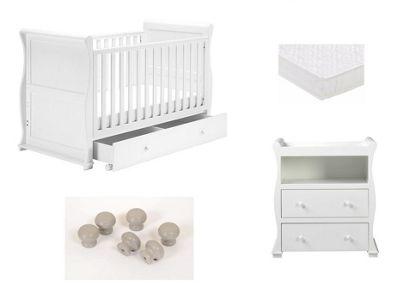 East Coast Alaska White/Grey Sleigh 2 Piece Nursery Room Set with Sprung Mattress