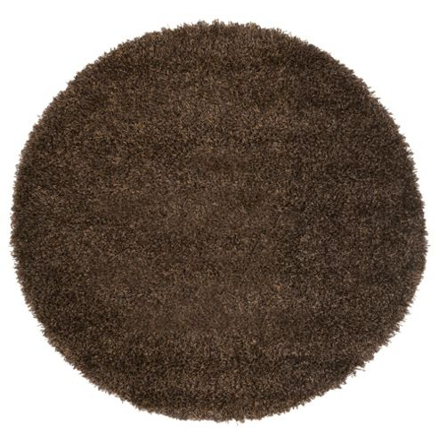 Tesco Rugs Circle Shaggy Rug Chocolate 120X120Cm