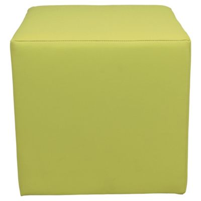 Stanza Leather Effect Cube / Foot stool Lime Green