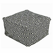 Homescapes Black and Cream Bean Cube Footstool with Aztec Pattern