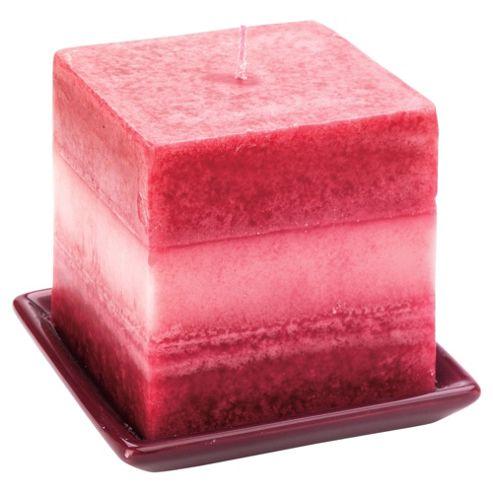 Tesco square candle & holder, purple