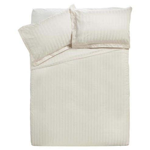 Finest Pima Cotton Satin Stripe Kingsize Size Duvet Cover Set, Ivory