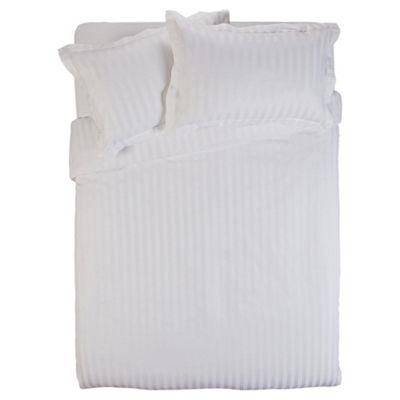 Finest Pima Cotton Satin Stripe Super King Duvet Cover Set, White