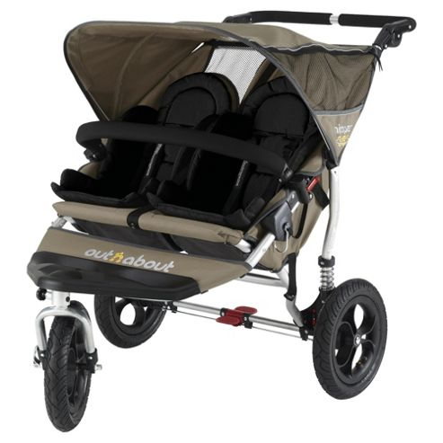Out 'n' About V2 Nipper 360, Double 3 wheeler Pushchair, Camel