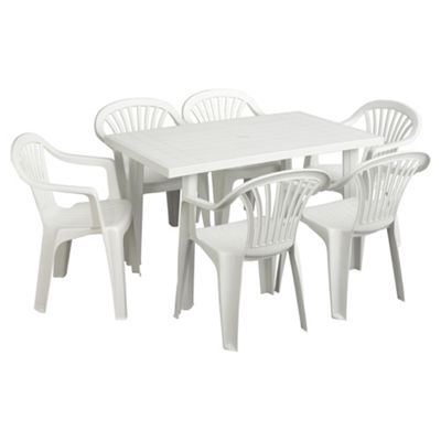 Buy white plastic garden furniture set from our garden - Set de table polypropylene ...